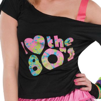 23830ca241c I Loveheart the 80 s off-shoulder T-shirt for ladies