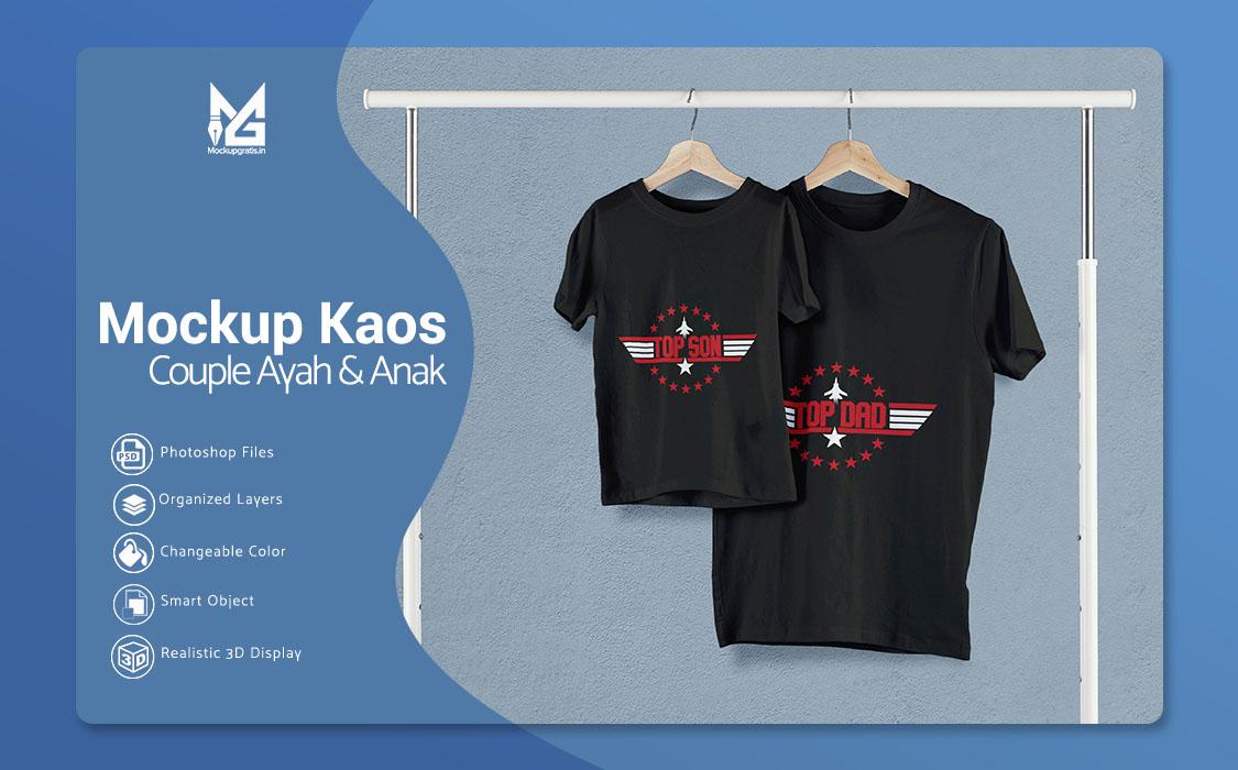Download PSD Mockup Kaos Couple Ayah dan Anak