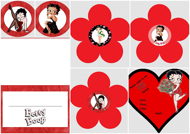 Betty Boop: Free Printable Mini Kit in Red.