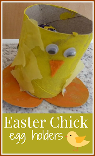 Easter Chick egg holders from toilet roll tubes