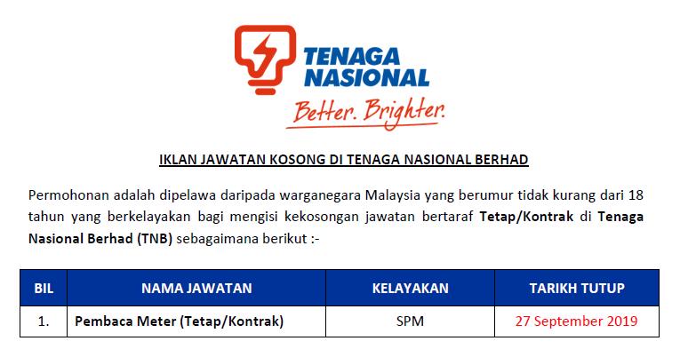 Jawatan Kosong Tenaga Nasional Berhad Tnb Pembaca Meter Ejawatankini Com