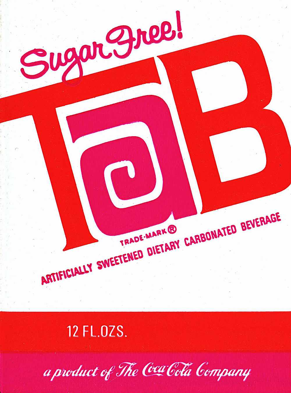 1970 TaB soft drink logo in pink and red