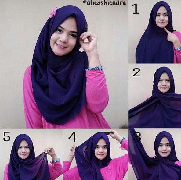 Baru 32 Cara Memakai Hijab Segi Empat Simple Dan Modis Untuk Remaja