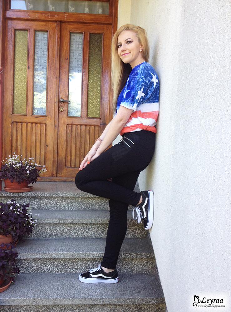 DIY koszulka motyw flaga USA, tregginsy czarne, vansy