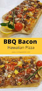 This is a bbq bacon hawaiian pizza recipe made from scratch with soy sauce and bbq worcestershire sauce topped with pineapple, bell peppers, onions and tomatoes.