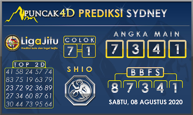 PREDIKSI TOGEL SYDNEY PUNCAK4D 08 AGUSTUS 2020