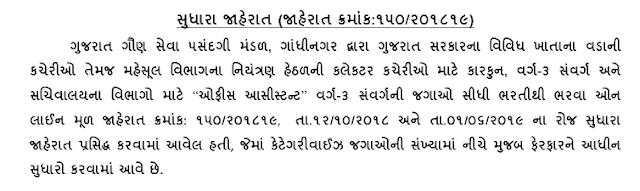 Gujarat Gaun Seva Pasandgi Mandal (GSSSB) Bin Sachivalay Clerk & Office Assistant (Advt. No. 150/201819) Changes in Total No. of Posts Notification 2019