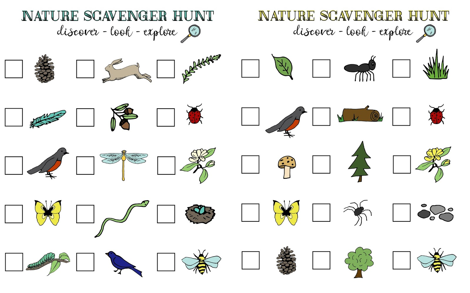 Free Printable Nature Scavenger Hunt For Kids And Families