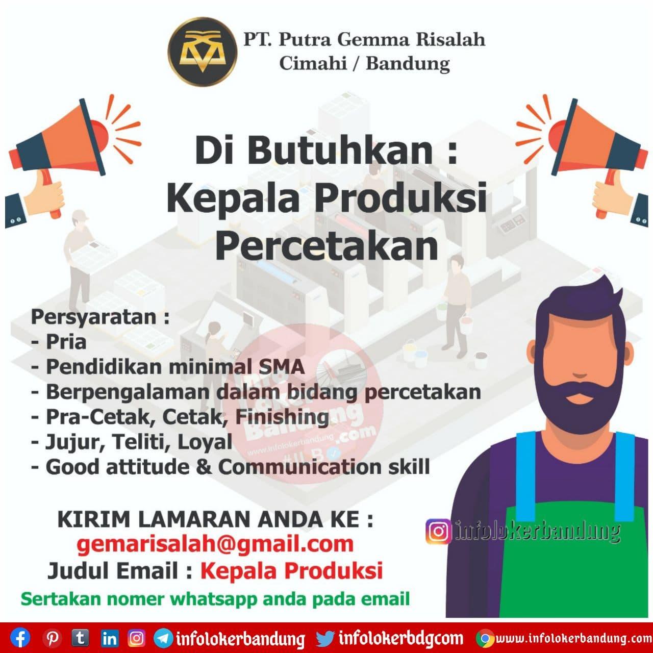 Lowongan Kerja PT. Putra Gemma Risalah Bandung Desember 2020