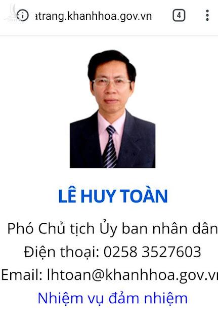 Bị can Lê Huy Toàn bị khởi tố nhưng vẫn là Phó Chủ tịch UBND Nha Trang?