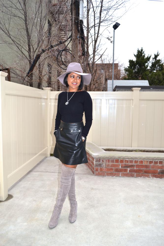 Zara leather skirt grey boots