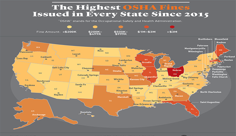 The Highest OSHA Violation in Every State Since 2015 #infographic