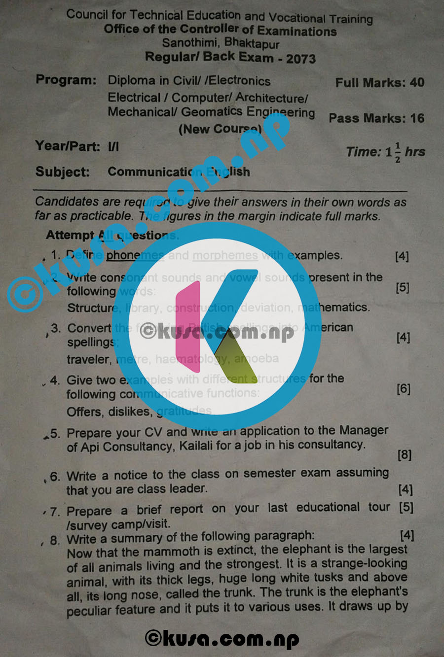 CTEVT-Communication-English-Question-Paper-2073-Diploma-1st-Year-1st-Part-01