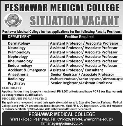Jobs in Peshawar Medical College May2019