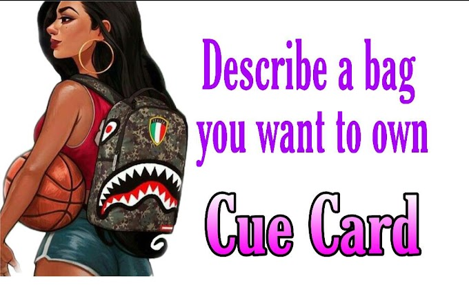 Describe a bag you want to own cue card