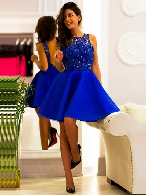 فستان ازرق وسواريه عصري ومميز موديل 2020