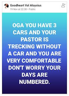 Pastor Goodheart Val Aloysius facebook post image