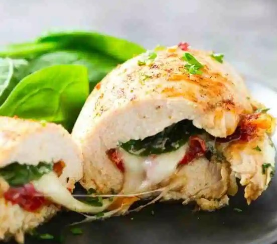 Mozzarella Stuffed Chicken Breasts and Pesto Tomato