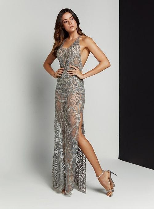 vestido de festa longo bordado com transparencia