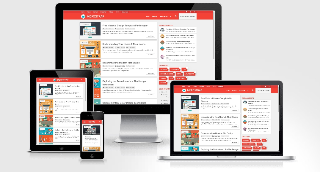MDFostrap Red - Responsive Blogger Template