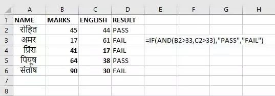 AND & OR function in Excel