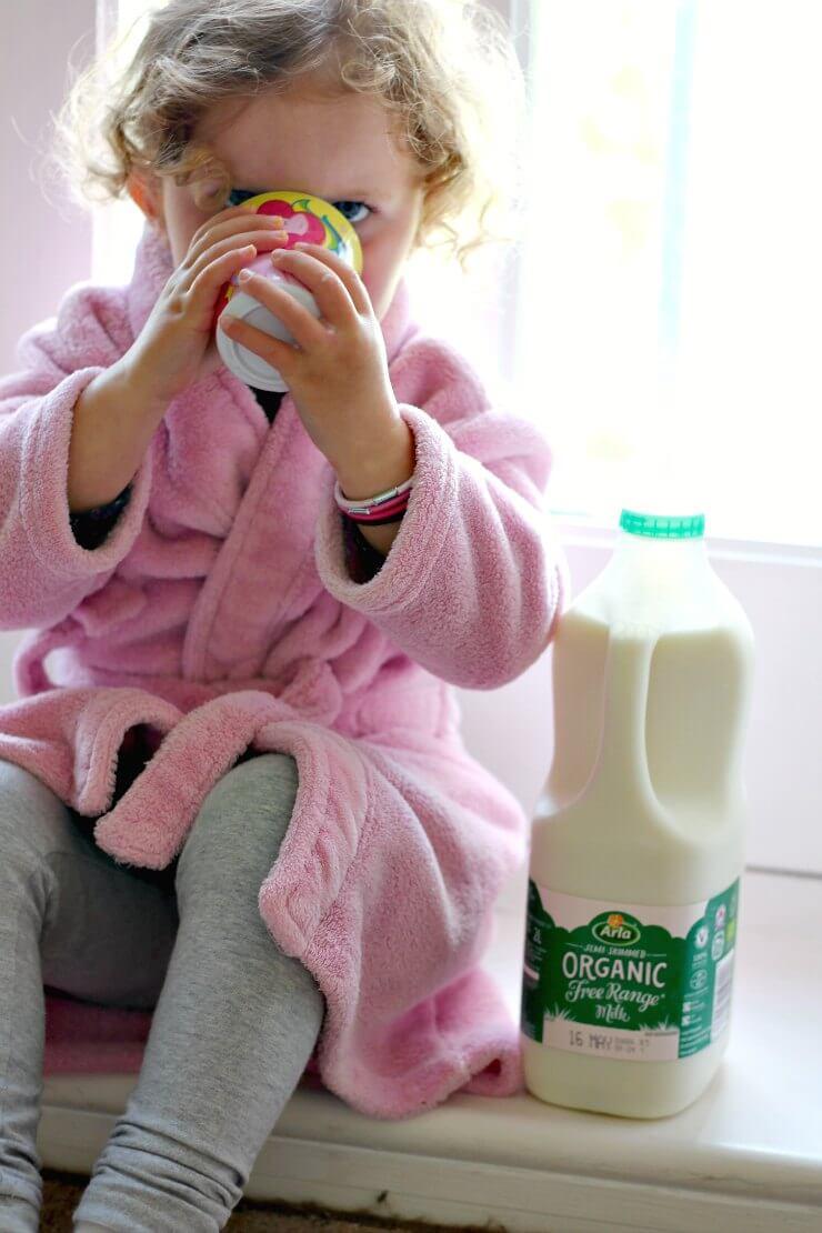 Heidi drinking milk