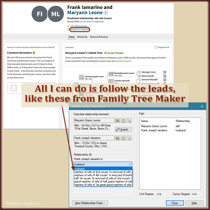 The Relationship Calculator in Family Tree Maker shows you hidden relationships.