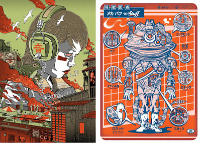 Guzu Gallery presents Strange Beasts: A Tribute to the Japanese Kaiju Phenomenon Art Show - Strange Beast Screen Print by Tim Doyle & Mecha-Pufnstuff Screen Print by Jesse Philips