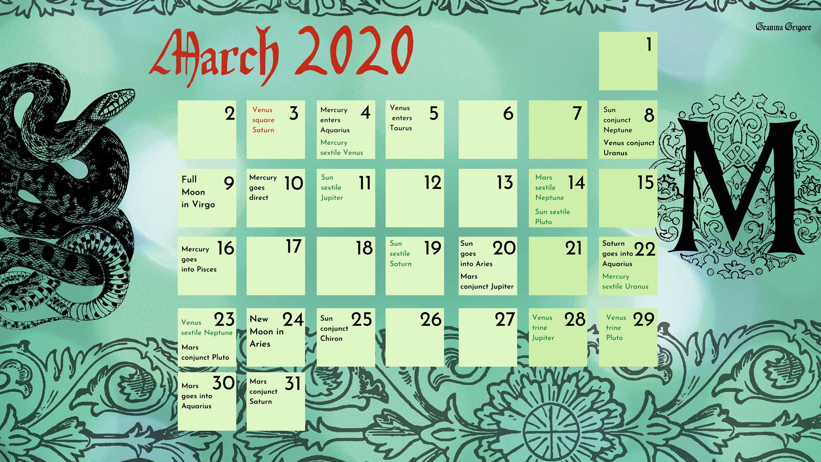 march calendar wallpaper