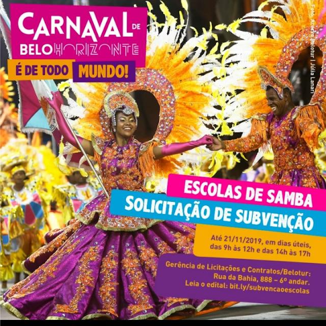 SUBVENÇÃO ÀS ESCOLAS DE SAMBA DO CARNAVAL DE BELO HORIZONTE 2020