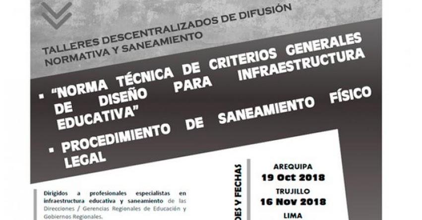 MINEDU: Talleres Descentralizados de Difusión Normativa y Saneamiento Físico Legal - www.minedu.gob.pe