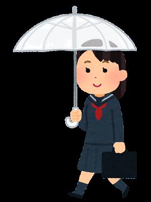 傘をさして歩く学生のイラスト(セーラー服・女子)