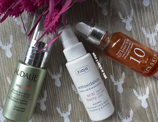 Productos acabados de cuidado facial: sérums de Caudalie, Ziaja e It's Skin
