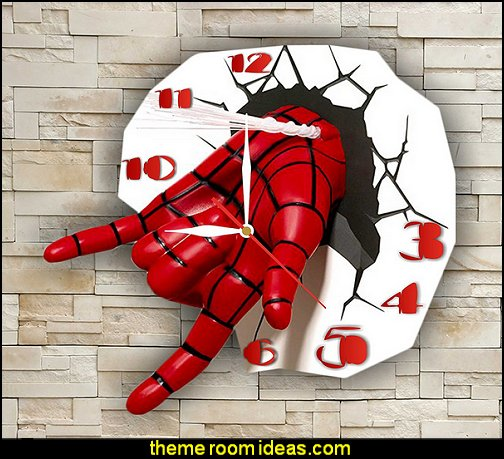 SpiderMan  CLOCK  spiderman bedroom decorating ideas - Spiderman rooms - spiderman room decor -  Spiderman Bedroom Decor -  spiderman Bedroom Ideas - superhero bedrooms - Spider web curtains  - spiderweb bedding - Marvel Heroes wall murals -  spiderman bedroom decor - Avengers wallpaper murals -  superhero theme bedrooms - Superhero bedroom ideas - boys bedrooms