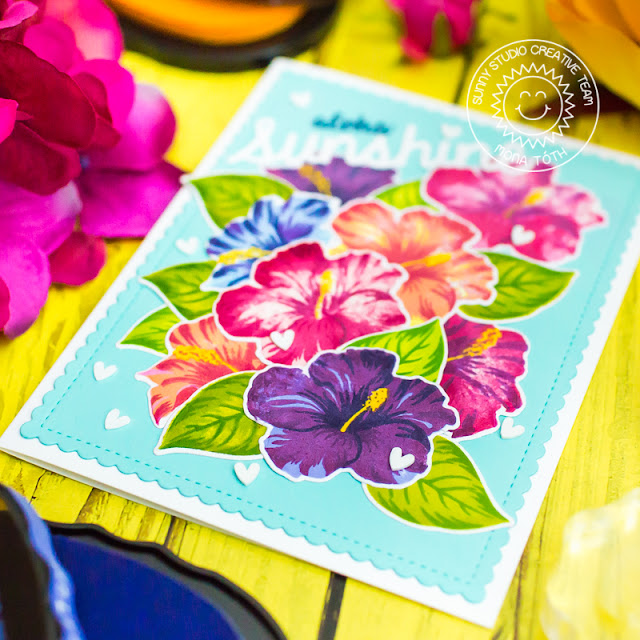 Sunny Studio Stamps: Hawaiian Hibiscus Sunshine Word Die Frilly Frames Dies Hello Cards by Mona Toth and Franci Vignoli