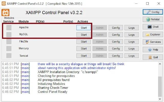Aplikasi Xampp Control Panel