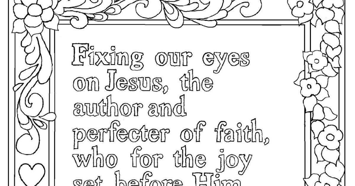 Coloring Pages For Kids By Mr Adron Hebrews 12 2 Print