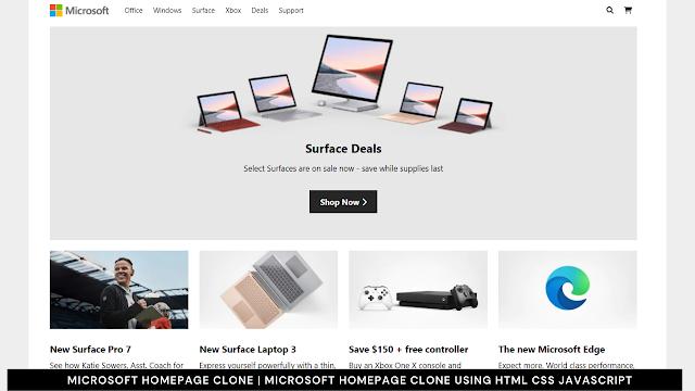 Microsoft Homepage Clone   Microsoft Homepage Clone using html css javascript