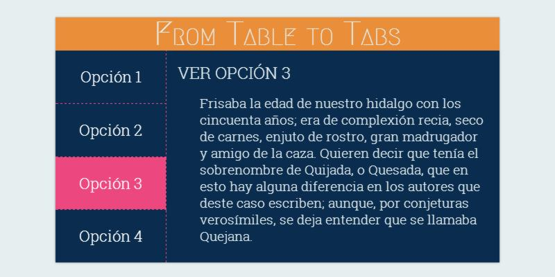 From table to tabs pure Css