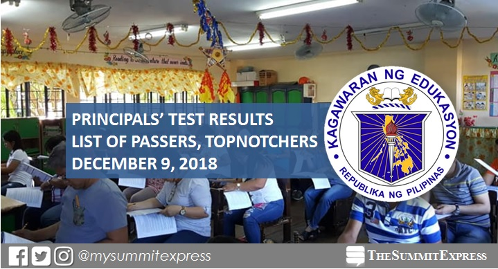 LIST OF PASSERS: December 2018 Principals' Test NQESH results