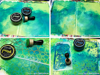 art journal page background preparation using acrylic paint by Jenny James