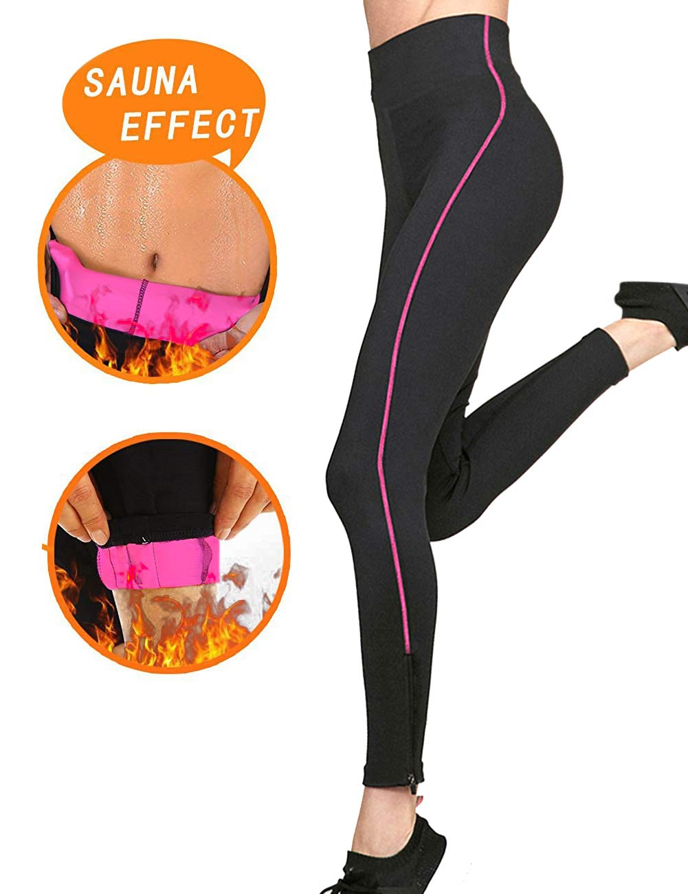 eaa518a039148 Women Slimming Sweat Pants Tummy Control Capri Yoga Leggings ...