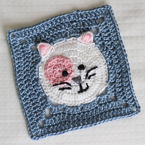 Kitty Cat Granny Square - Free Pattern