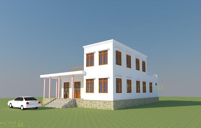 Mẫu thiết kế nhà ở nông thôn 2 tầng kiểu  hiện đại