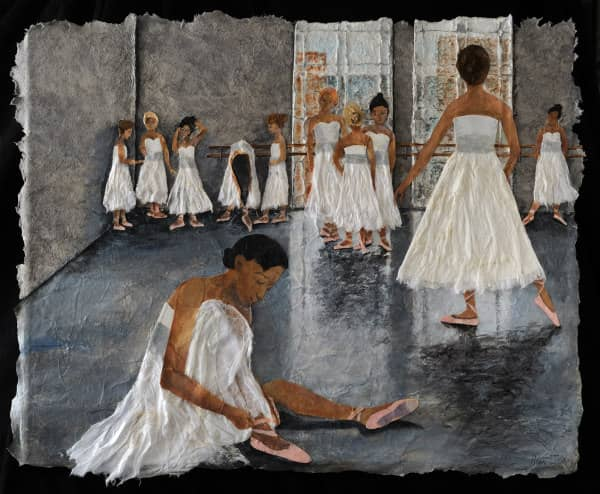 textured paper collage of ballet dancers in white dresses and pink shoes readying to dance