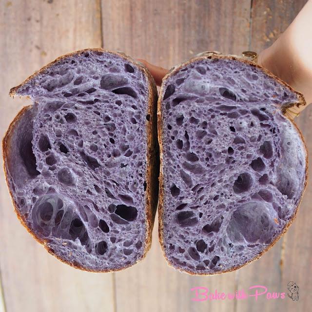 Butterfly Pea Flower Open Crumb Sourdough Bread
