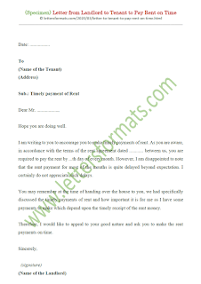 sample letter to tenant to pay rent on time
