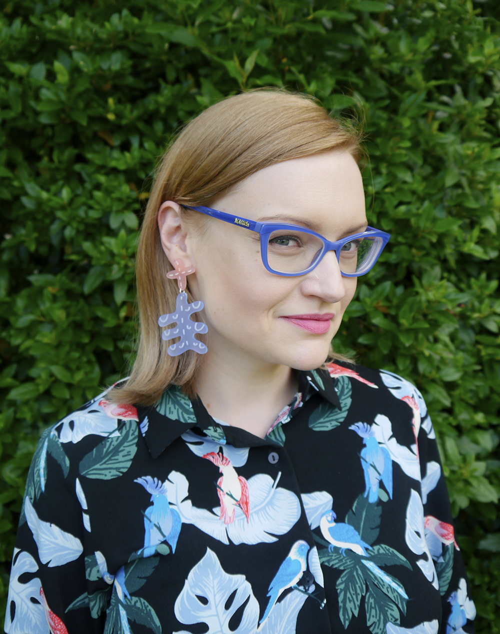 lue Max and Co. from Specsavers glasses paired with Julia de Klerk earrings