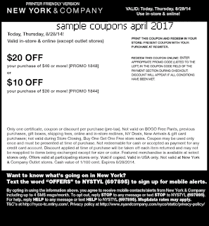 New York And Company coupons april 2017