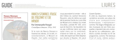 Opéra Magazine 138 avril 2018 critique de Michel Parouty biographie Nancy Storace